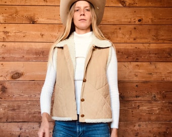 Vintage 80\u2019s Genuine Leather Patchwork Vest w Sherpa Inner Lining and 3 snap buttons made in Mexico