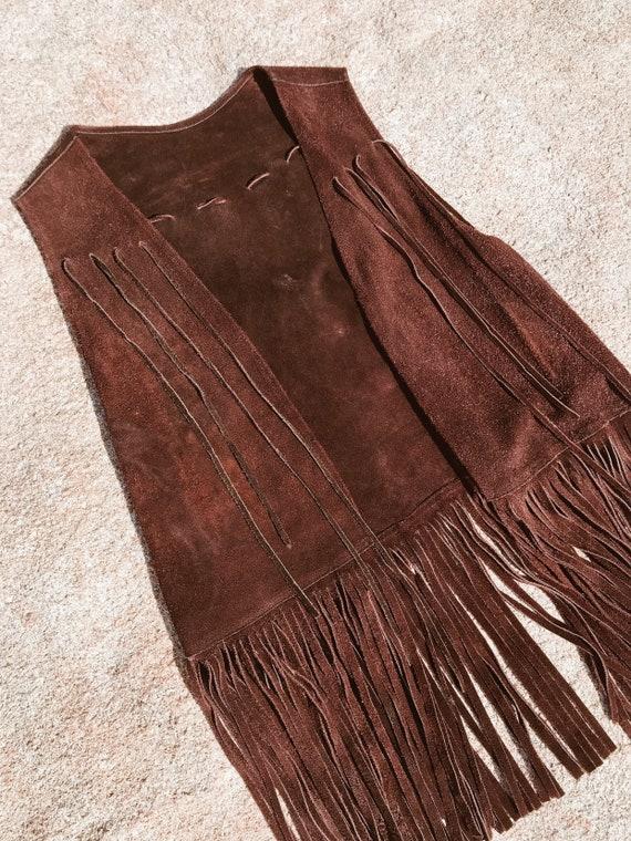 Brown Suede Fringe Vest- Small