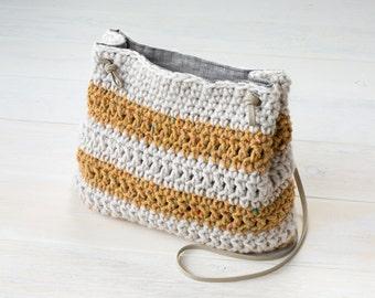 Crochet Yellow and Natural Color Block Bucket Bag