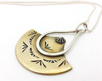 mixed metal jewelry | brass necklace | bohemian jewelry | minimal jewelry | brass jewelry | modern necklace | mixed metal necklace | stamped