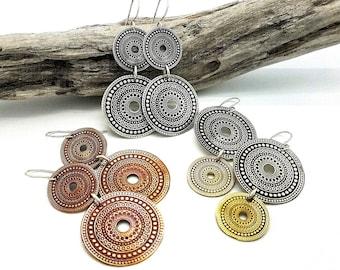 6bf9f77a74791 Bohemian Earrings Mandala Jewelry Mixed Metal Earrings Bohemian Jewelry  Statement Earrings Boho Jewelry Hippie Gypsy Jewelry Large Earrings