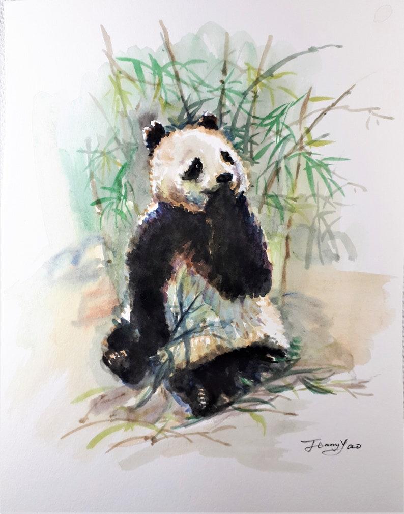 Original Watercolor Painting Panda I 10x8 image 0