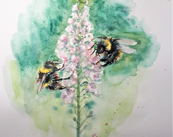 Original Watercolor Painting, Two Bee on Pink flower, 210917, 9x12 inch