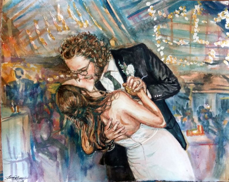 Original Watercolor Wedding Picture Painting. 8x10 image 0