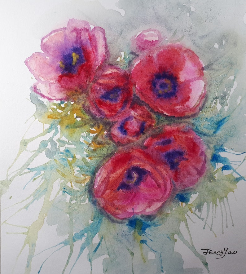 Original Watercolor painting Pink Red Poppy Flower image 0