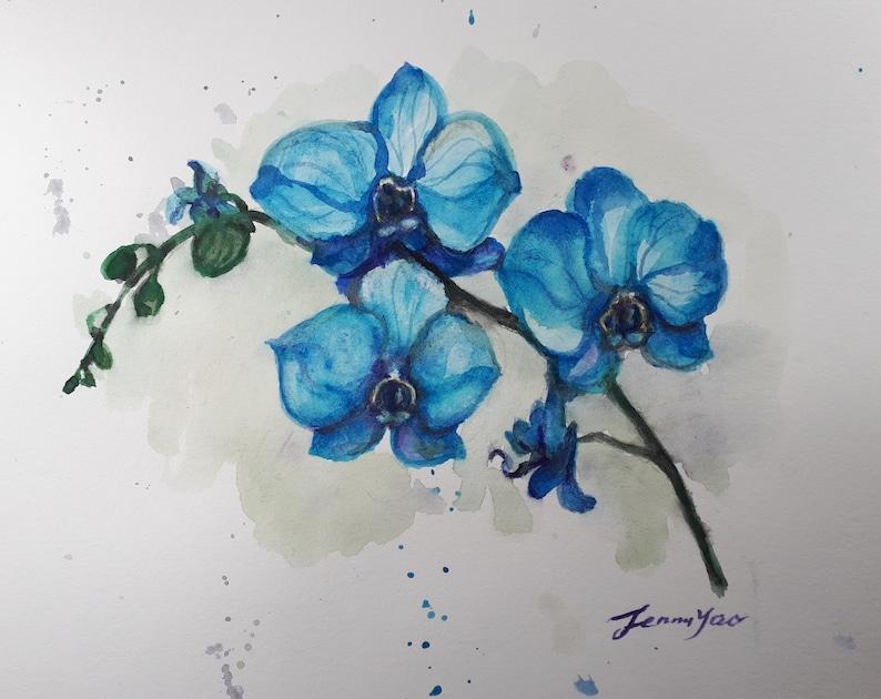 Original Watercolor painting Blue Orchid Flower 8x10 image 0