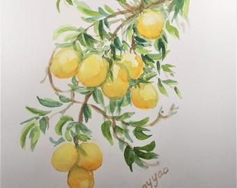 Original Watercolor Painting, Yellow Lemon on Branch, 9x12, 210909