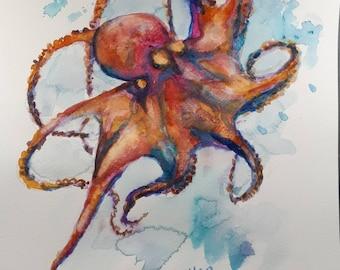 Original Watercolor Painting, Red Octopus, 210915, 12x9