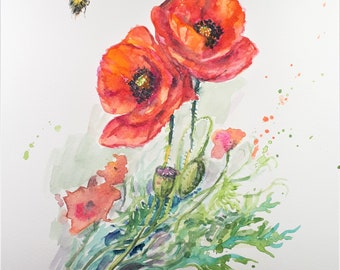 Original Watercolor Painting, Bee and Poppy, 210919, 9x12