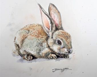 Original Watercolor Painting, Rabbit, 20201109, 10x8