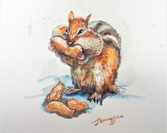 Original Watercolor painting, Chipmunk Busy Eating, 210919, 9x12