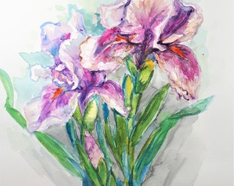 Original Watercolor Painting, Pink Iris Flower, 210915, 12x9