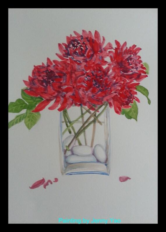 original wasser farbe malerei rote blume in vase. Black Bedroom Furniture Sets. Home Design Ideas