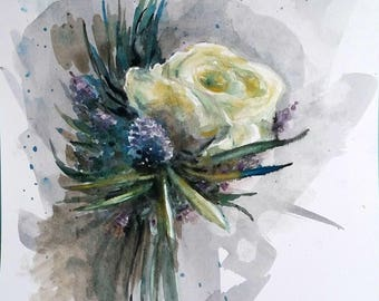 Original Watercolor painting, White Flower, 10x8inch, 1802096