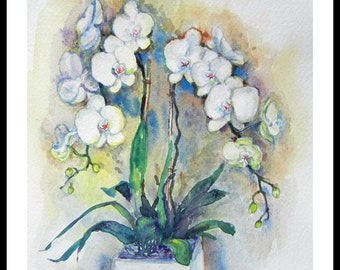 """Original Water Color Painting Print, White orchid flower,8""""x10"""", 150256"""