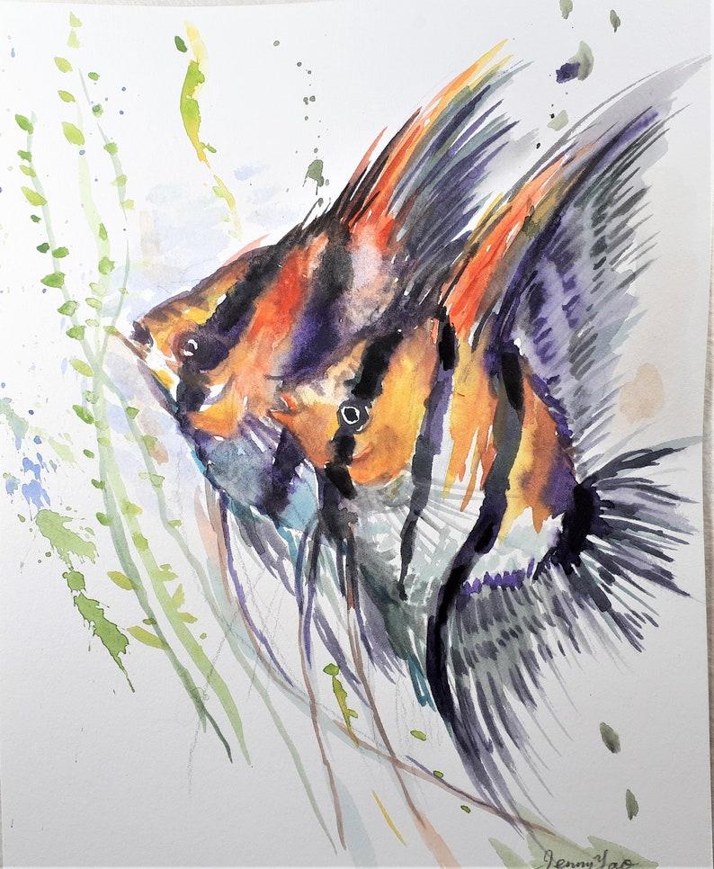 Original Watercolor painting Tropic fish 10x8 image 0