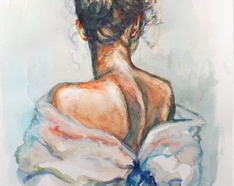 Original Watercolor Painting, Woman Head in Fashion, 210915, 12x9