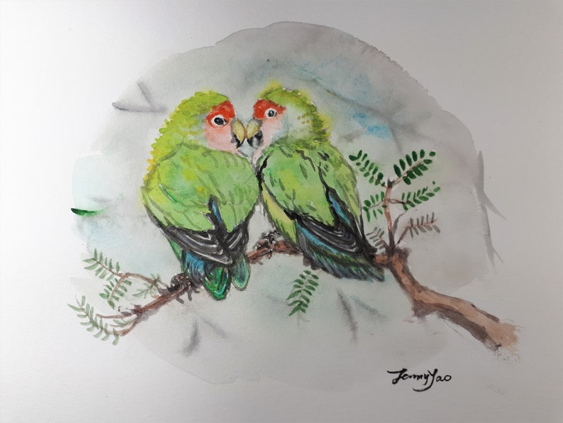 Original Watercolor Painting Two Birds 8x10 image 0