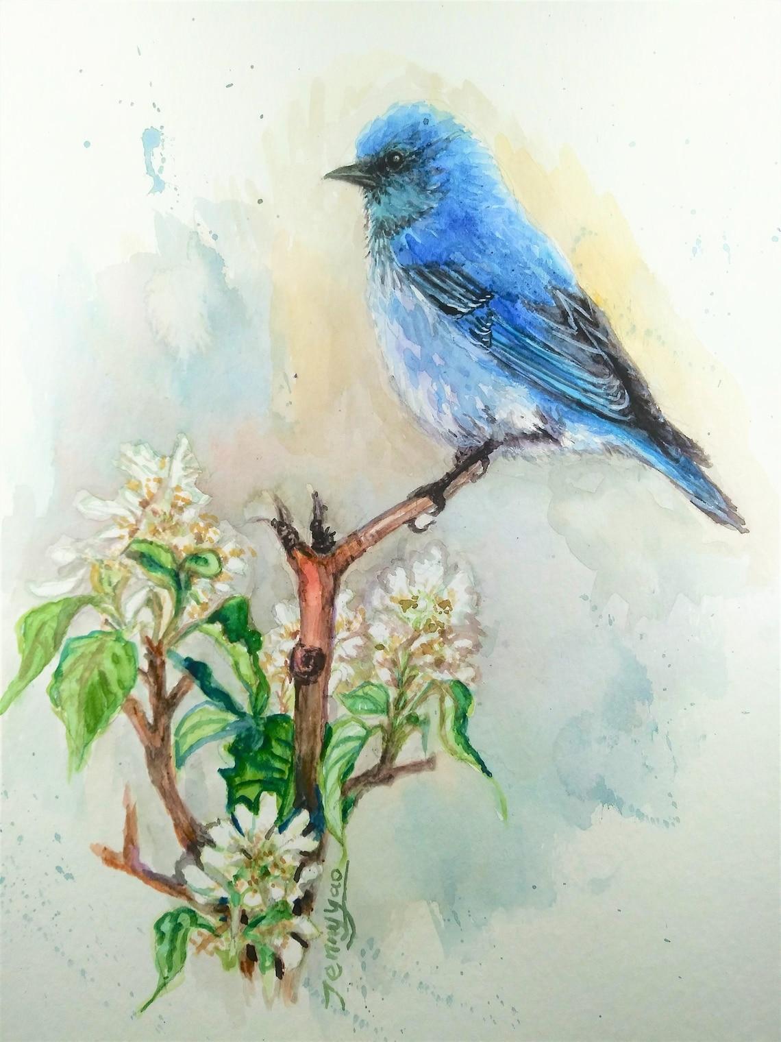 original aquarell blauer vogel mit weißer blume 210426 12