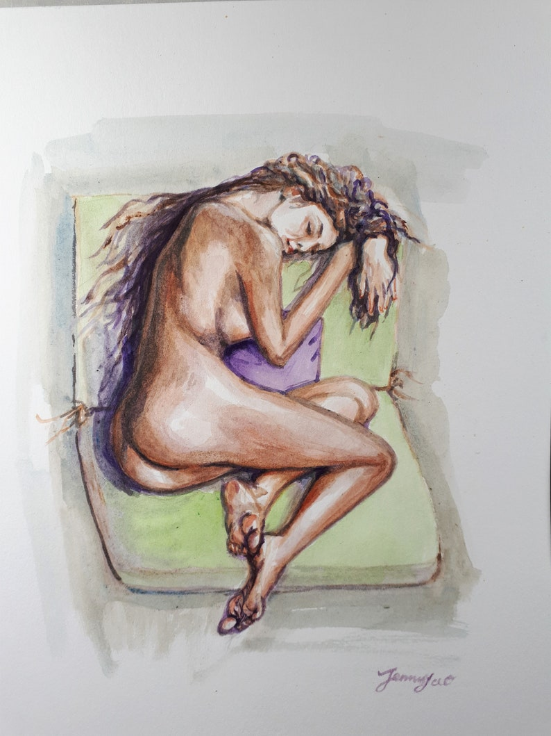 Original Watercolor Painting Nude IV 10x8 1909194 image 0