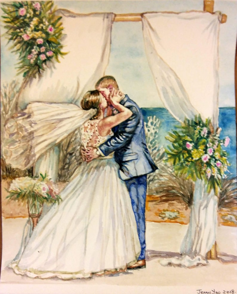Custom Wedding Picture Painting 8x10 Watercolor image 0
