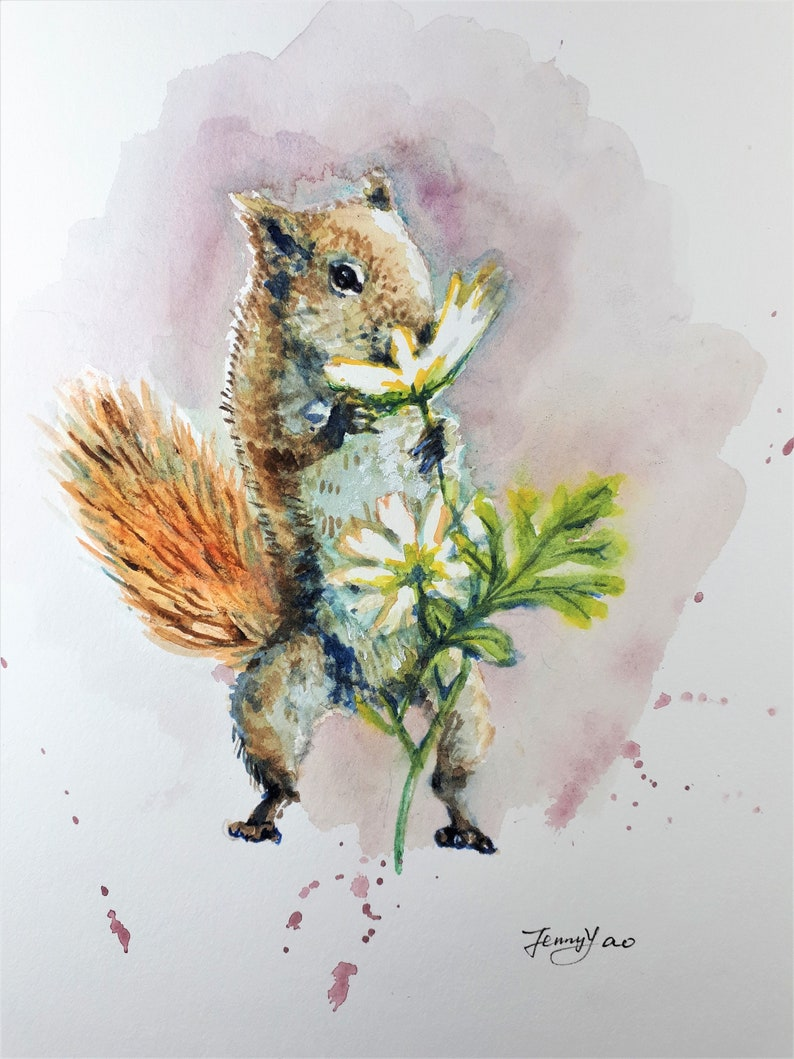 Original Watercolor painting Squirrel with flower image 0