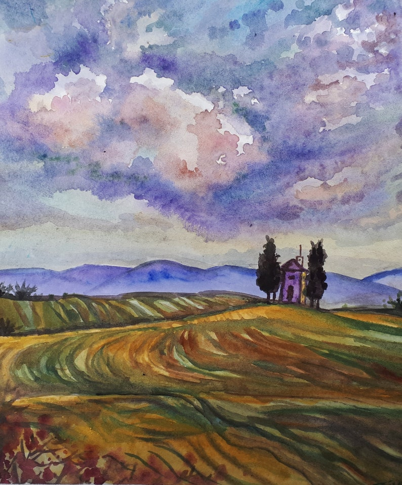 Original Watercolor Painting Cloudy Field 10x8 image 0