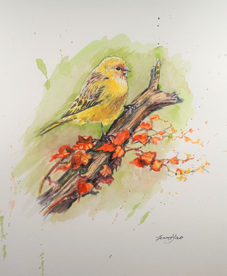 Original Watercolor painting Fall Bird 10x8 19112121 image 0