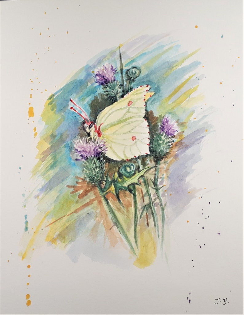 Original Watercolor painting Yellow Butterfly 10x8 image 0
