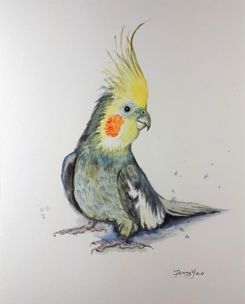 Original watercolor painting Yellow Head Parrot image 0