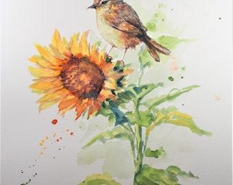Original Watercolor Painting, Bird on Sunflower, 210919, 9x12