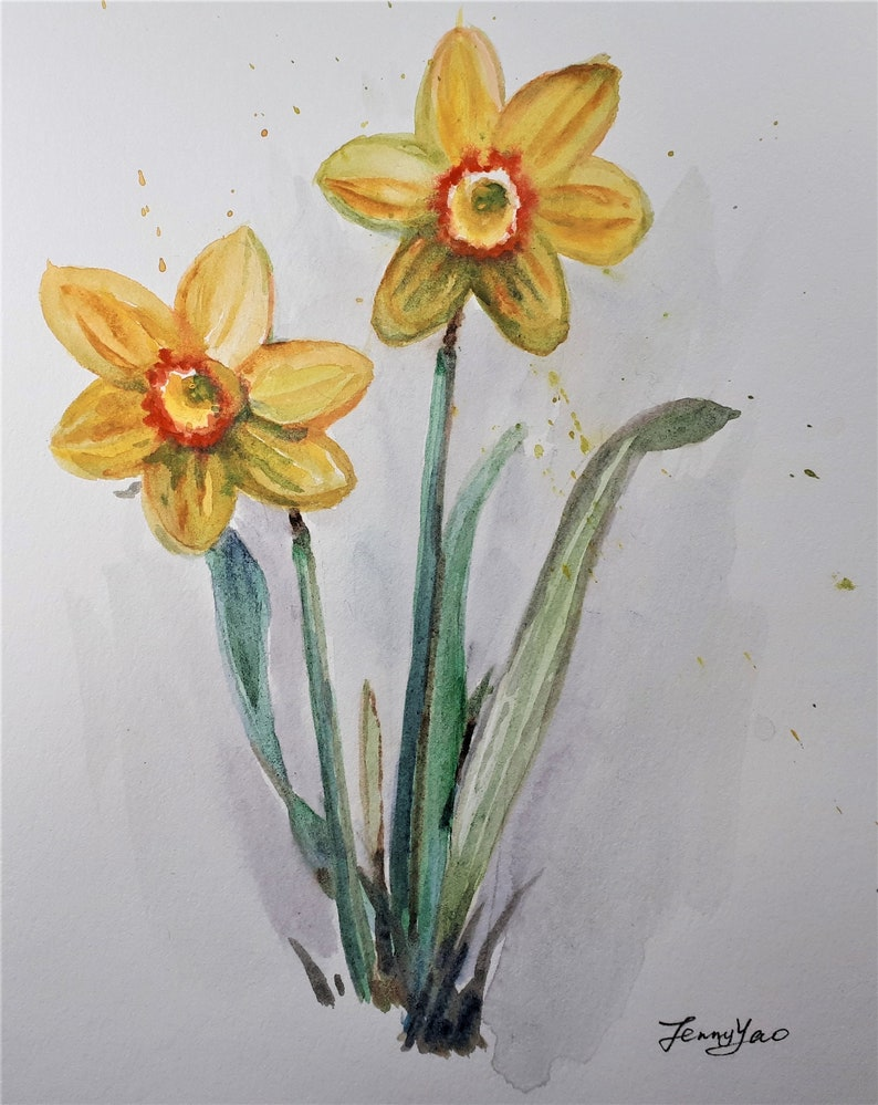 Original Watercolor Painting Yellow Daffodils 8x10 image 0