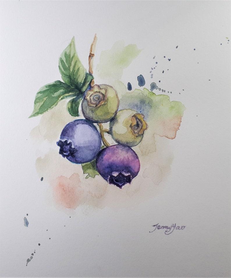 Original Watercolor Painting Blue Berry 10x8 19112115 image 0