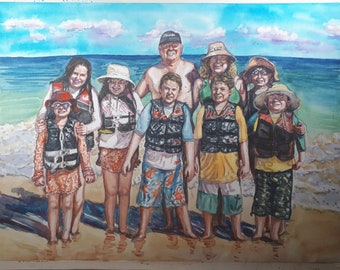 """Custom Painting for More than 5 and less or equal 10People, Watercolor Portrait Painting, 8""""x10"""""""
