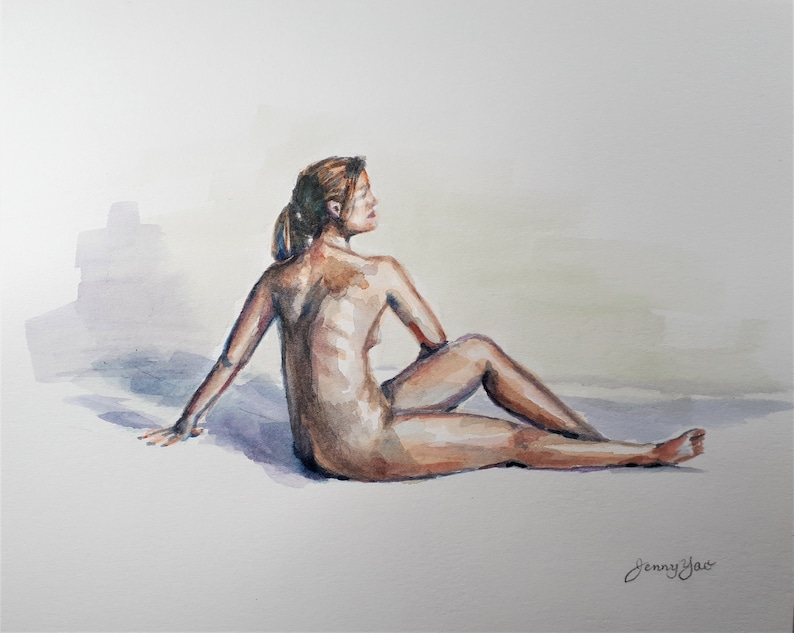 Original Watercolor Painting Nude III 8x10 1911211 image 0