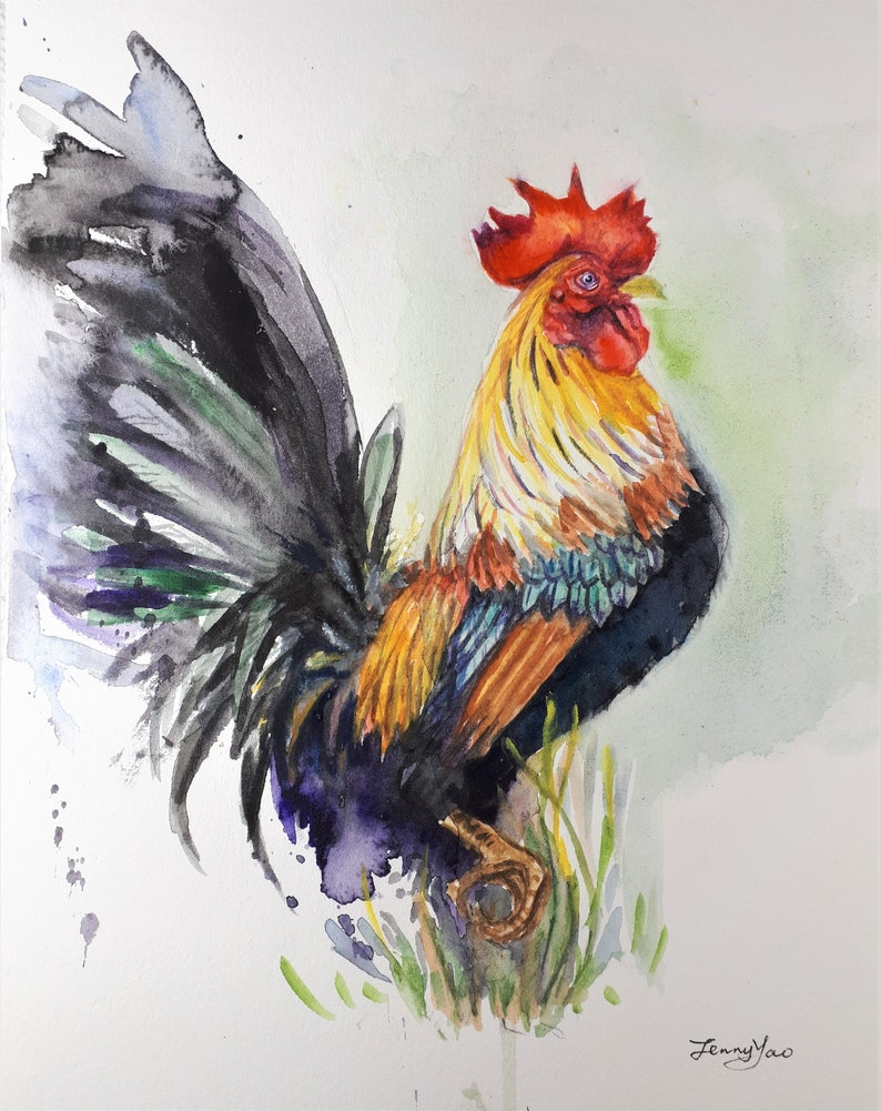 Original Watercolor Painting Roaster II 10x8 image 0