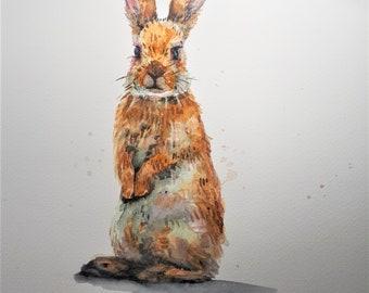 Original Watercolor Painting, Rabbit II, 210917, 9x12