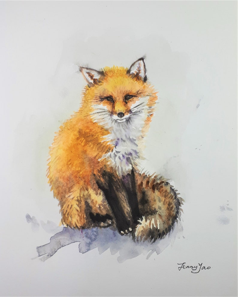 Original Watercolor Painting Fox I 10x8 image 0