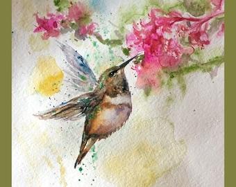 Original water color painting printing, Hummingbird in Spring, pink, green, 160461