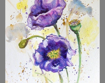 "Original Water color Painting, Purple Poppy, 10""x8"", 160455"