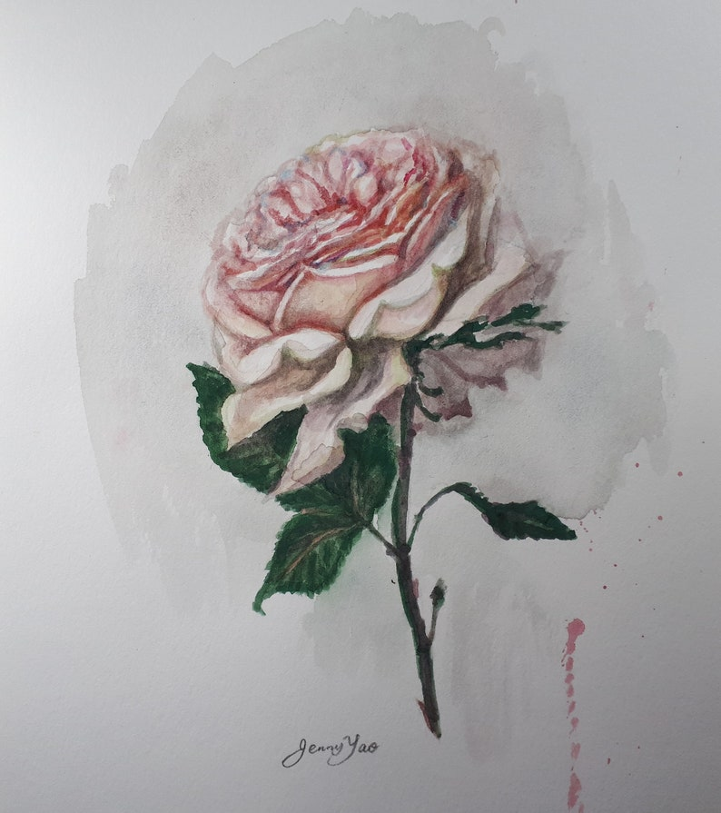 Original Watercolor Painting Pink Rose 10x8 11192112 image 0