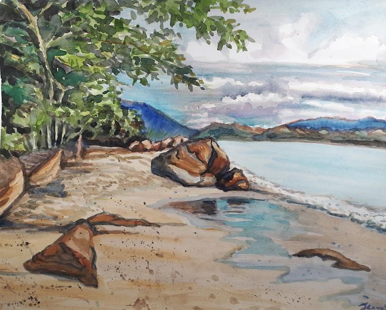 Original Watercolor PaintingBeach Landscape  11x14 image 0
