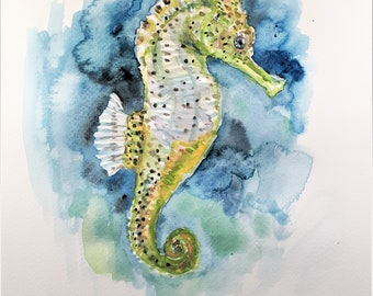 Original Watercolor Painting, Seahorse, 210915, 12x9