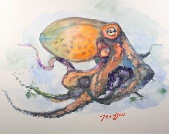 Original Watercolor Painting, Octopus II, 210917, 9x12