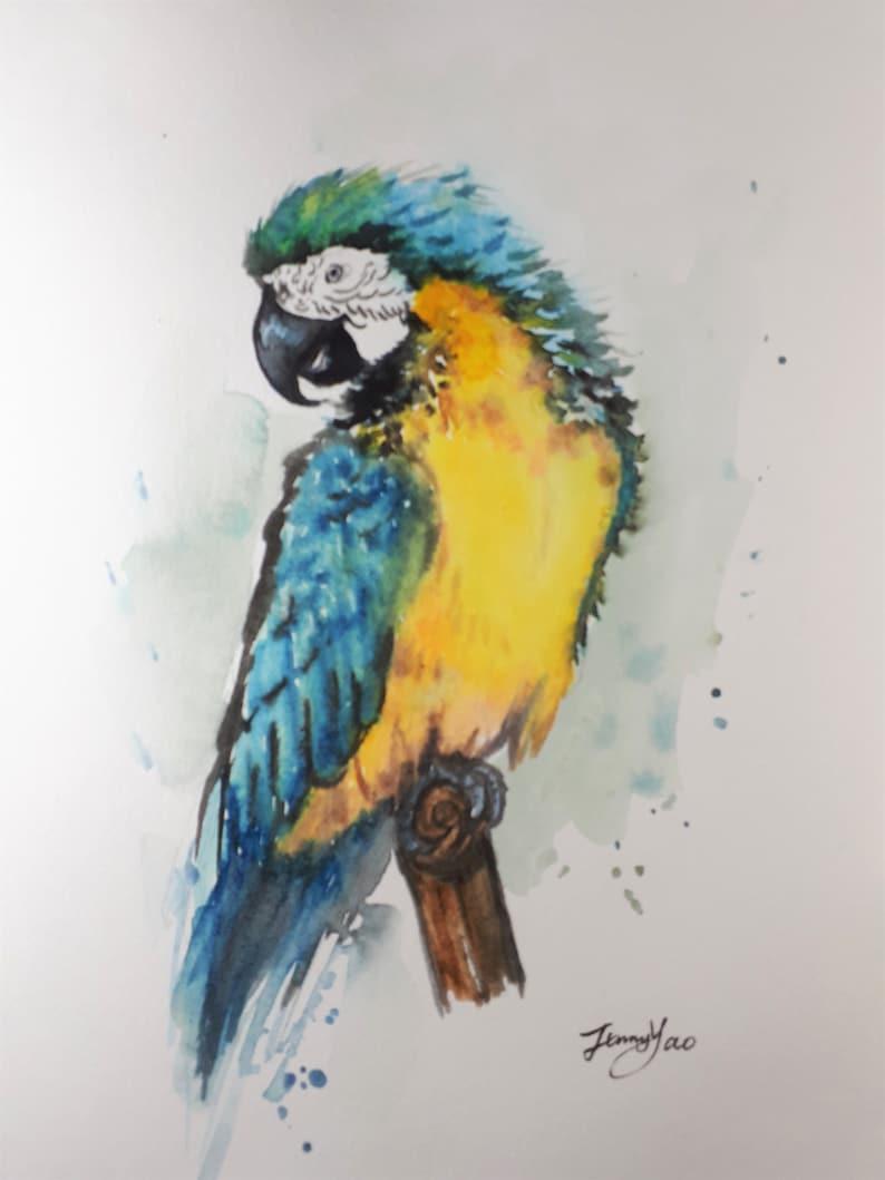 Original Watercolor Painting Blue Parrot 10x8 image 0