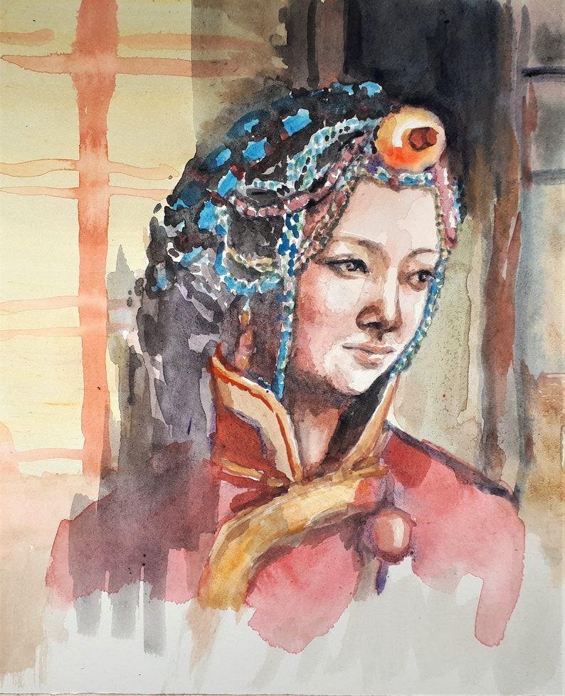 Original Watercolor Painting Tibet Girl Portrait 10x8 image 0