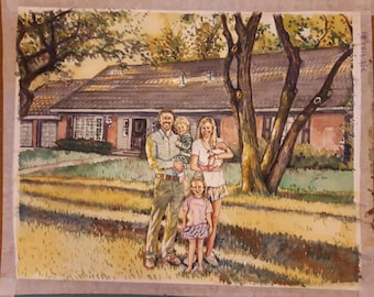 Custom Watercolor Painting, Family and Home Portrait, Less or Equal 5 people, Size options