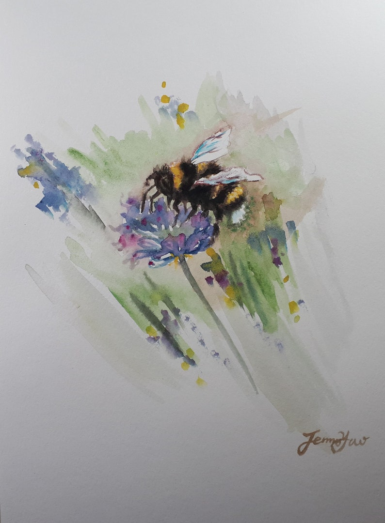 Original Watercolor painting Bee on Flower I  10x8 image 0