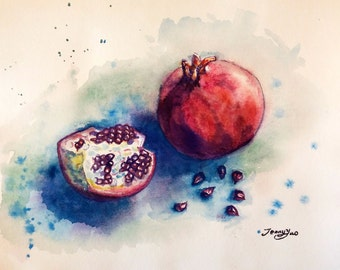 "Original Watercolor Painting, Pomegranate- still life, 8""x10"", 1701273"