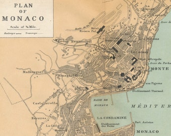 1927 Monaco & Monte Carlo Antique Map